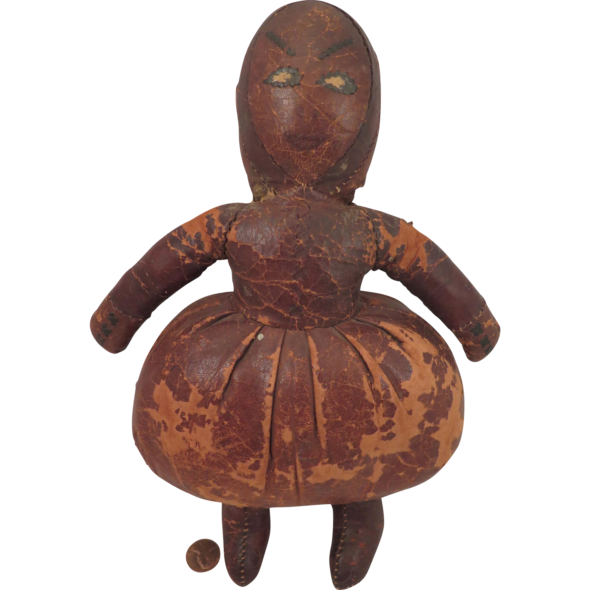 Antique Leather Doll 11 inches