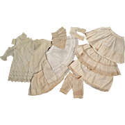 11 pc Lot Antique Doll White Petticoats, Chemise, Pantaloons