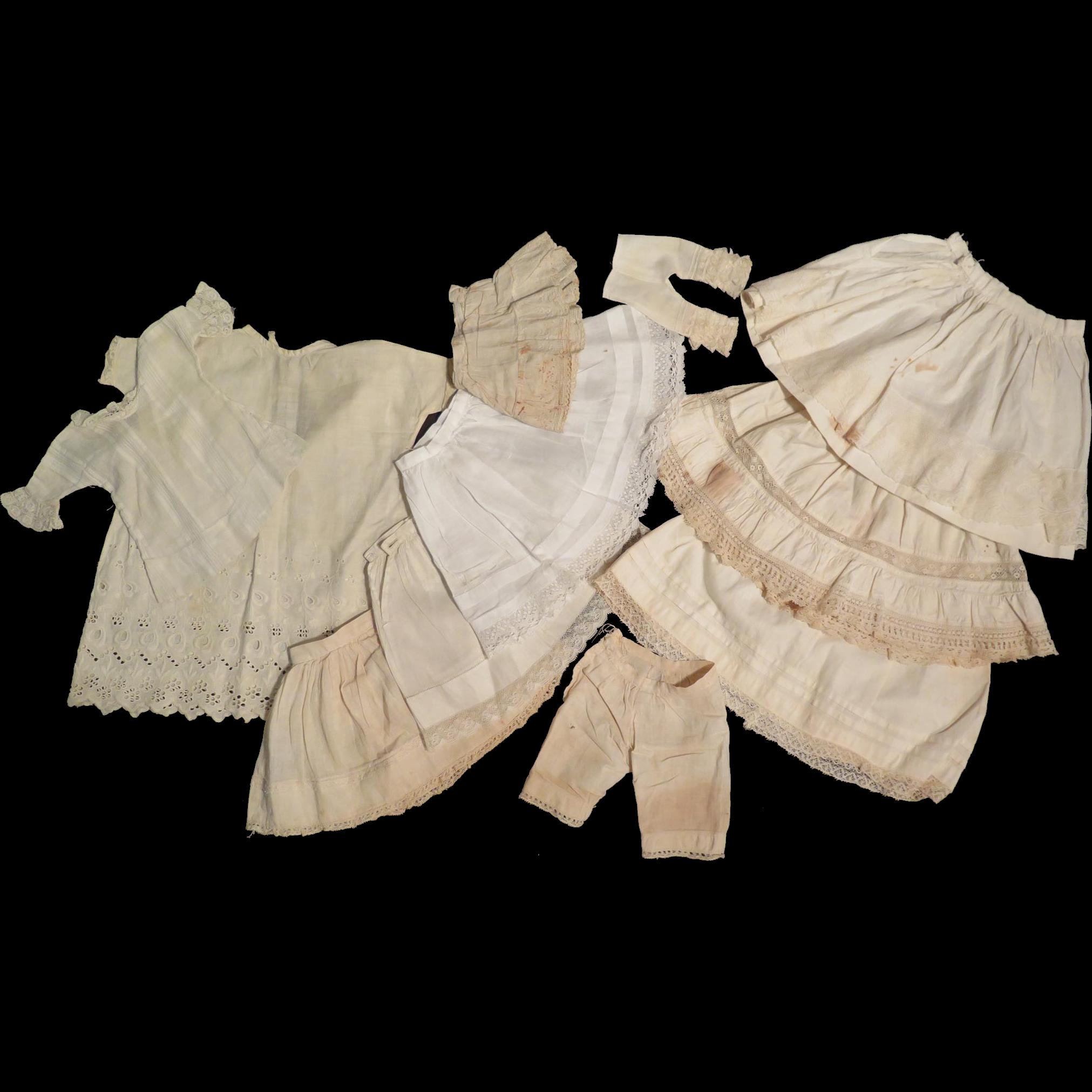 11 pc Lot Antique Doll White Petticoats, Chemise, Pantaloons