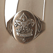 1930s Sterling Silver Boy Scout BSA Ring Size 9 Original Box