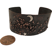 Vintage Artisan Copper Bracelet Cuff with Silver Moon and Star