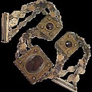 Victorian Pâte de Verre Cameo Choker Necklace 800 Silver