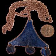 Vintage Blue Enamel Copper Pendant Necklace
