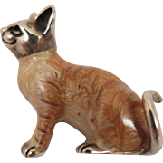 Vintage Sterling Silver Enameled Cat Brooch