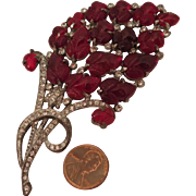 1940s Red Glass Molded Flowers and Rhinestones Brooch