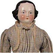 1860s German Flat Top China Head Doll 25 inches