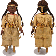 12 inch Vintage American Indian Wood Doll w/ Beaded Leather Dress - Red Tag Sale Item