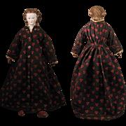 1870s Kling Brown Hair Parian Bisque Doll W/ Earrings, 23 inch
