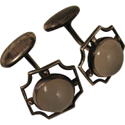 Art Deco Sterling Silver Moonstone Cufflinks
