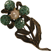Vintage H. O. B. Flower Brooch with Cultured Pearl