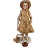 "4.5"" Antique French Mignonette Doll w/ Jointed Elbows & Glass Eyes"
