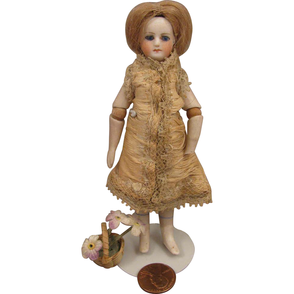 4.5 inch Antique French Mignonette Doll with Jointed Elbows & Glass Eyes