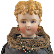 1870s ABG Parian Bisque Doll with Earrings 15 inch
