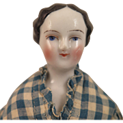 1850s German Kestner China Lady Doll with Bun 10 inch