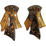 Pair Amber Bakelite Dress Clips