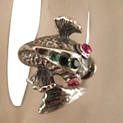 Antique Sterling Silver Fish Ring Ruby Emerald Size 5.5