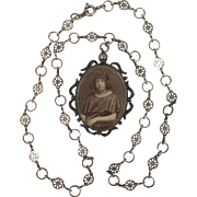 1920s Memorial Locket on Necklace Chain