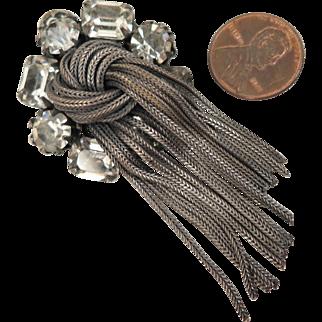 Vintage Rhinestone Tassel Pendant Brooch