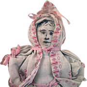 Antique Home Made Cloth Doll 10 inches