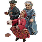 Antique Home Made Papier Mache Doll House Dolls Set of 3
