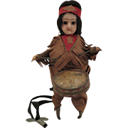 1912-20 Schuco Mechanical Indian Drummer Doll 5.25 inches