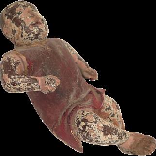 Early Antique Baby Jesus Terra Cotta Creche Figure 8 inches