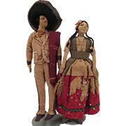 Mexican Cloth Doll Pair 9 inches c. 1900