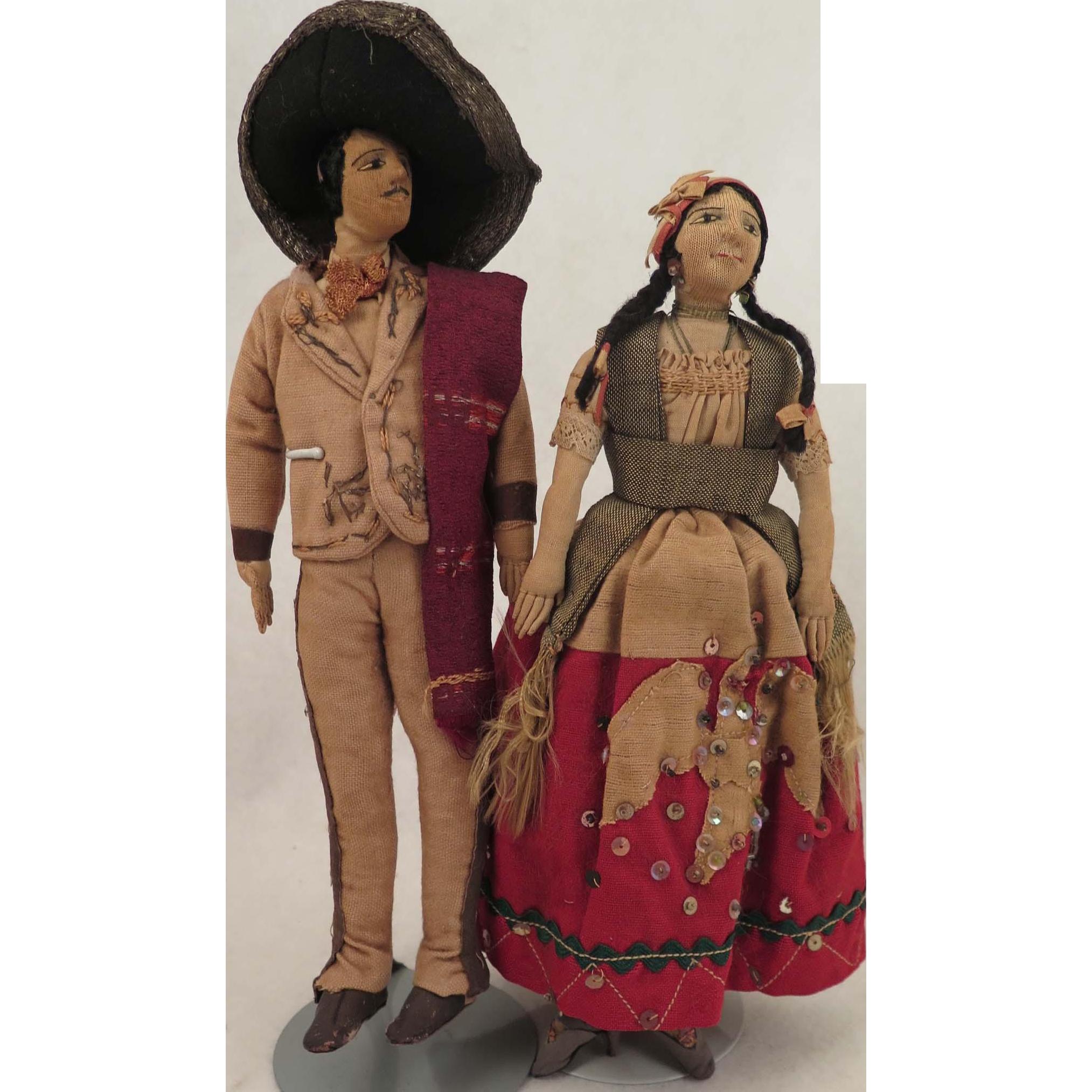 Mexican Cloth Doll Pair 9 inches c. 1900