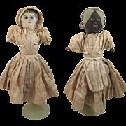 Circa 1900 Folk Art Painted Cloth Topsy Turvy Doll