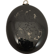 Victorian Black Enameled Sterling Silver Locket