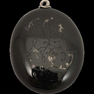 Victorian Black Enameled Sterling Silver Locket