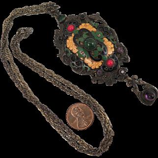 Antique Enamel and Paste Pendant Necklace