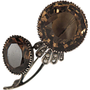 Antique 800 Silver Smokey Quartz Seed Pearl Brooch