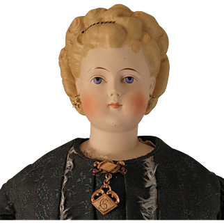 25 inch ABG Parian Bisque Doll with Fancy Hair Style