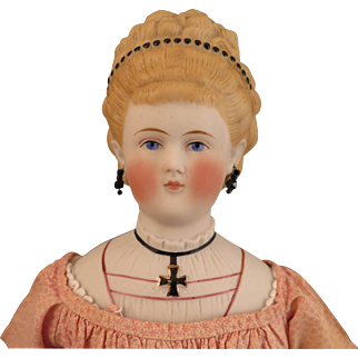 16 inch Antique ABG Parian Bisque Doll with Molded Blouse