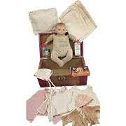 10 inch German Grace S. Putnam Bye-Lo Baby with Trunk and Accessories