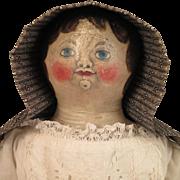 24 inch Antique Painted Cloth Folk Art Doll