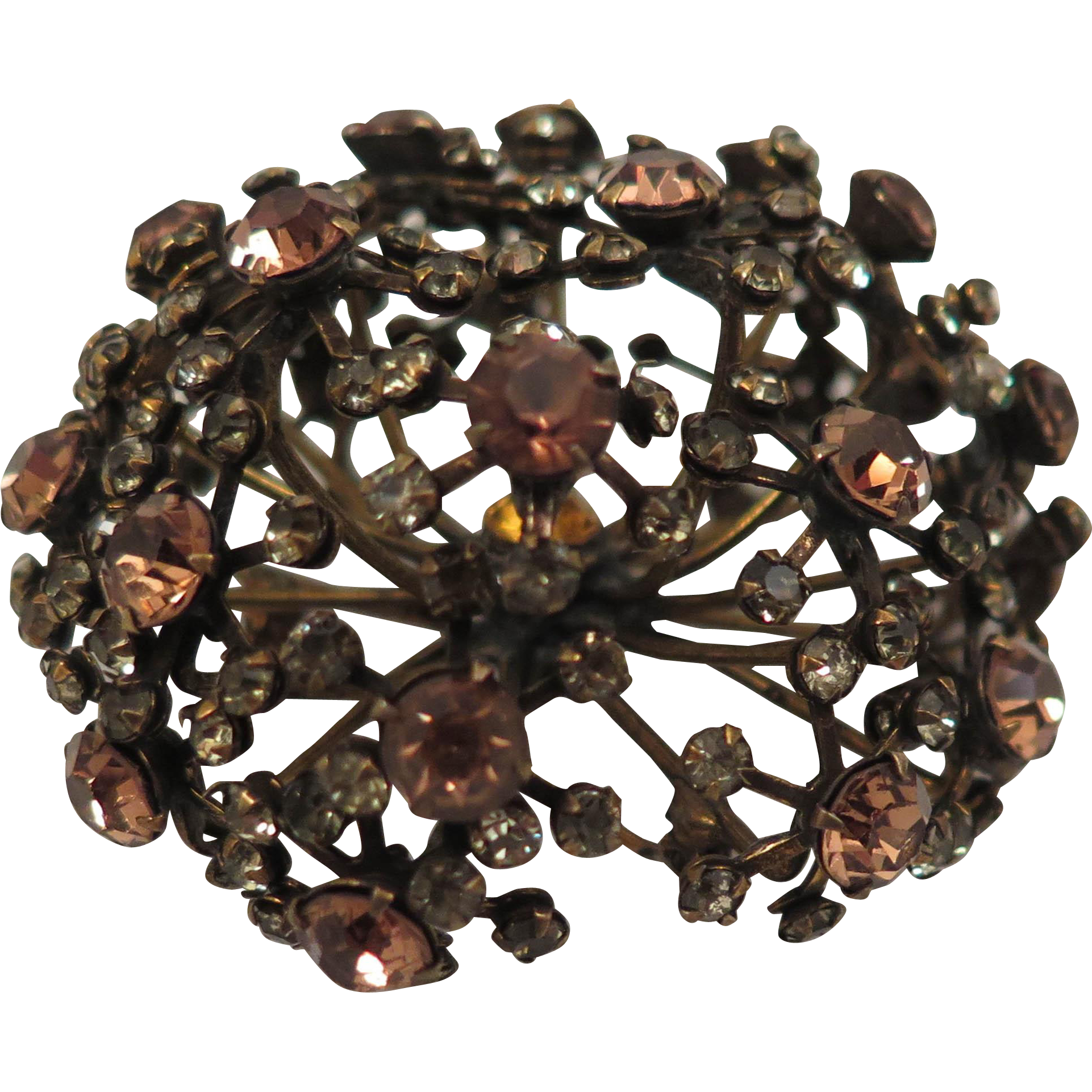 Vintage Warner Rhinestone Atomic Galaxy Brooch