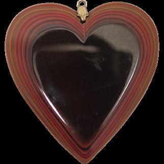 Vintage Fordite Detroit Agate Heart Pendant