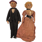 Early 1900s Cloth Doll Man and Woman Pair 9.5 inches