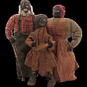 Antique Folk Art Black Nut Head Doll Family