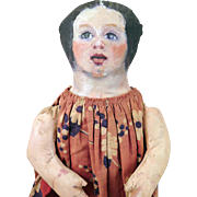 Early 1900s Painted Cloth Girl Doll 18 inches