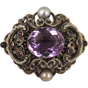 Antique Austro Hungarian Amethyst Pearl Brooch 900 Silver