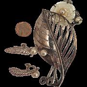 M. Hosoki 950 Sterling Silver Cultured Pearl Brooch and Earrings Set