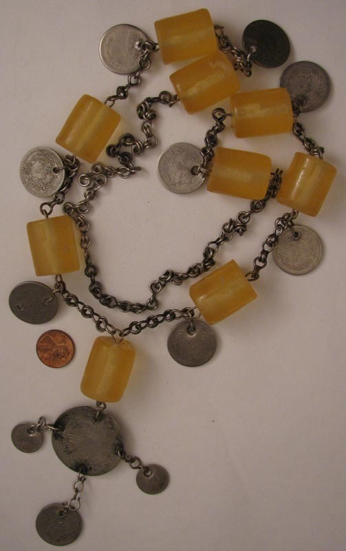 Large Old Tribal Middle Eastern Belly Dancer Coin Necklace