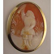 1800s Cameo of Child in Garden with Bird 14K Brooch