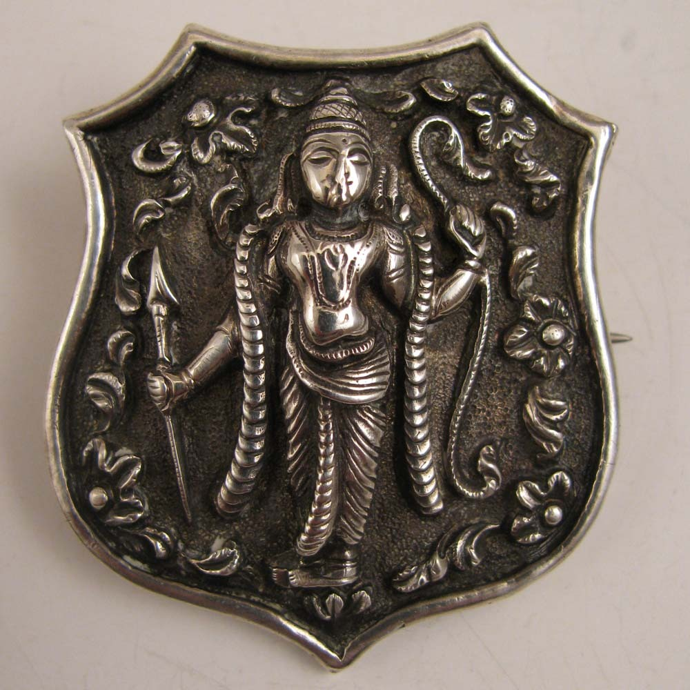 Victorian Shield Shaped Sterling Silver Indian Shiva Brooch