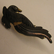 Japanese Meiji Shakudo Menuki Mixed Metals Bird Brooch