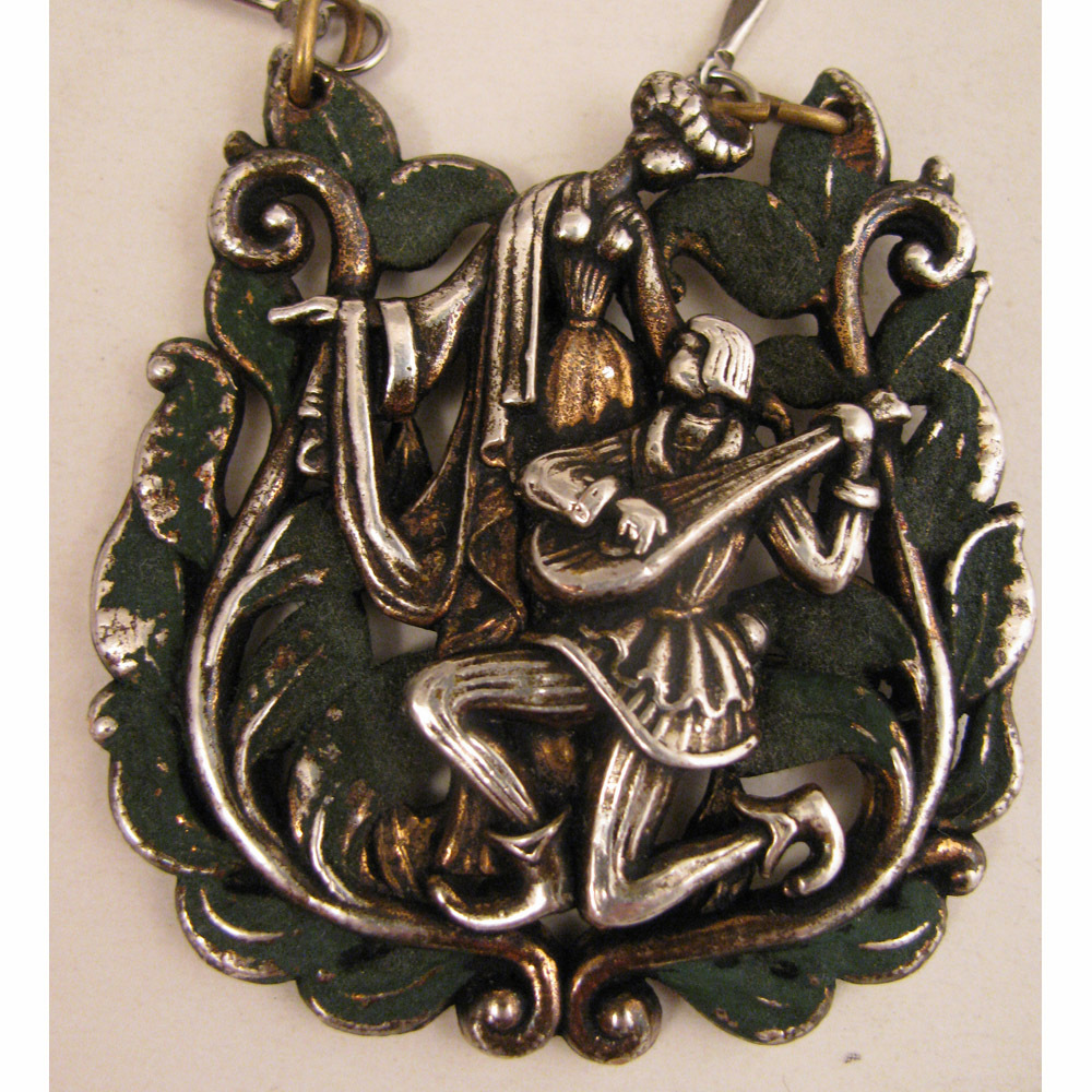 Vintage French Silver Plate Pendant of Serenading Troubadour on Necklace
