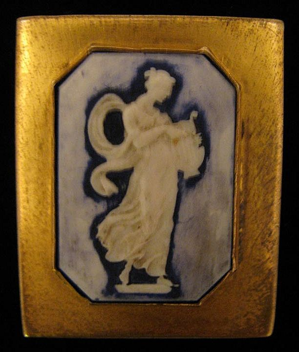 c. 1930s Porcelain Grecian Lady w/ Lyre Cameo Dress Clip